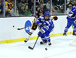 SIOUX FALLS, SD - MARCH 24: Louie Roehl #6 for Minnesota Duluth battles for the puck with Trevor Stone #9 from Air Force during their game at the 2018 West Region Men's NCAA DI Hockey Tournament at the Denny Sanford Premier Center in Sioux Falls, SD. (Photo by Dave Eggen/Inertia)
