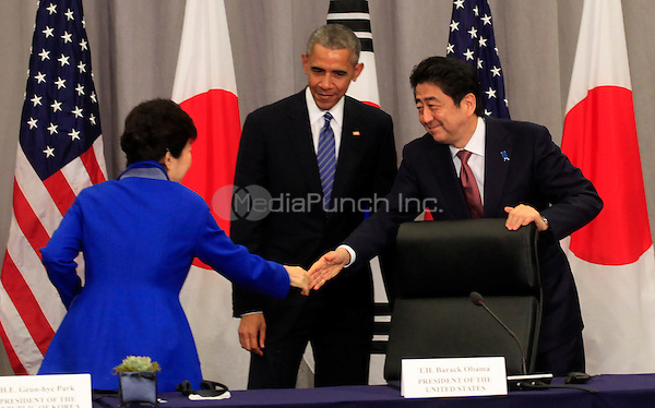 United States President Barack Obama attends a trilateral meeting with President Park Geun-Hye of the Republic of Korea and Prime Minister Shinzo Abe of Japan at the Nuclear Security Summit in Washington, DC on March 31,2016.<br /> Credit: Dennis Brack / Pool via CNP/MediaPunch