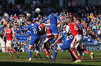 Fleetwood Town's Nathan Pond is blocked by Oldham Athletic's Peter Clarke as the ball is flighted into the penalty area<br /> <br /> Photographer Stephen White/CameraSport<br /> <br /> The EFL Sky Bet League One - Oldham Athletic v Fleetwood Town - Saturday 8th April 2017 - SportsDirect.com Park - Oldham<br /> <br /> World Copyright &copy; 2017 CameraSport. All rights reserved. 43 Linden Ave. Countesthorpe. Leicester. England. LE8 5PG - Tel: +44 (0) 116 277 4147 - admin@camerasport.com - www.camerasport.com