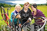 Pictured at the launch of National Bike Week programme of activities, which includes bike maintenance by the Kerry Recreation and Sports partnership, in Killarney on Monday were Saoirse Kelly, Aoife Crowe and Nikita Gamble..........NO FEE....PR SHOT...................