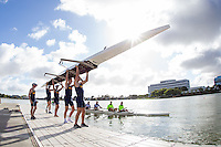 Redwood Shores, CA - April 23, 2016:  Cal Rowing competes in a dual versus the University of Washington.