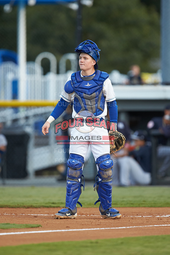 Burlington Royals catcher William Hancock (7) on defense against the Pulaski Yankees at Burlington Athletic Stadium on August 25, 2019 in Burlington, North Carolina. The Yankees defeated the Royals 3-0. (Brian Westerholt/Four Seam Images)