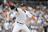 New York Yankees pitcher Aaron Laffey #22 during a game against the Baltimore Orioles at Yankee Stadium on September 5, 2011 in Bronx, NY.  Yankees defeated Orioles 11-10.  Tomasso DeRosa/Four Seam Images