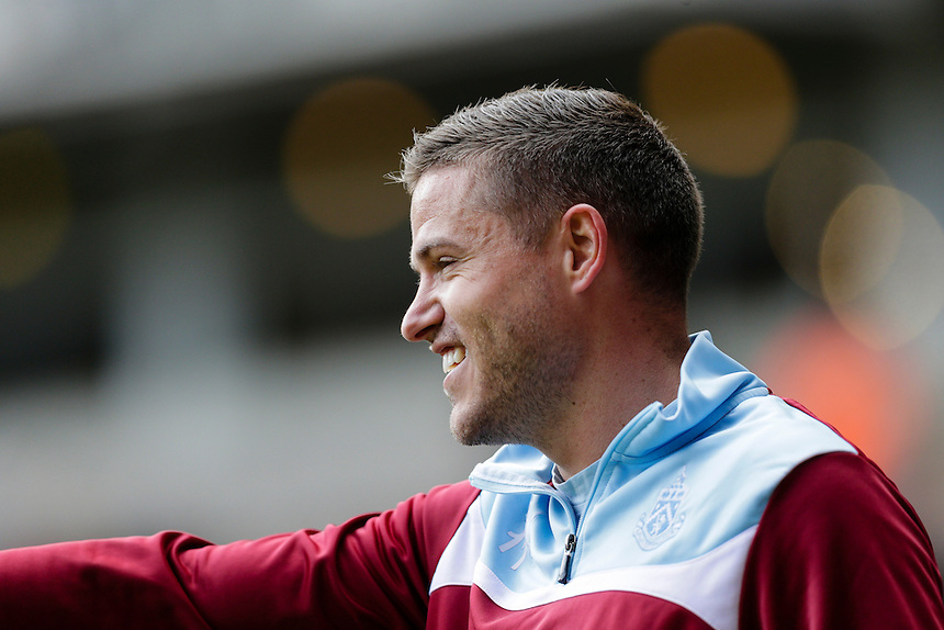 Burnley's Michael Kightly during the pre-match warm-up <br /> <br /> Photographer Craig Mercer/CameraSport<br /> <br /> Football - Barclays Premiership - West Ham United v Burnley - Saturday 2nd May 2015 - Boleyn Ground - London<br /> <br /> &copy; CameraSport - 43 Linden Ave. Countesthorpe. Leicester. England. LE8 5PG - Tel: +44 (0) 116 277 4147 - admin@camerasport.com - www.camerasport.com