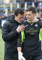 Partick Thistle Manager Gary Caldwell speaking with Jamie Sneddon after the SPFL Ladbrokes Championship football match between Queen of the South and Partick Thistle at Palmerston Park, Dumfries on  4.5.19.