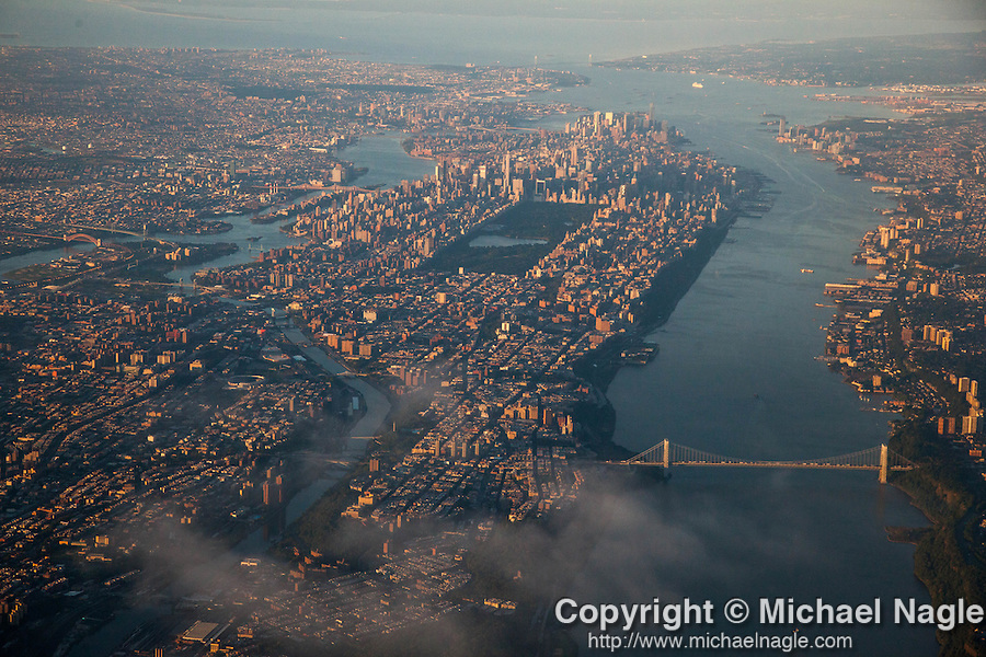 NEW YORK, NY -- AUGUST 13, 2015:  An aerial view of  New York City, early Thursday morning, August 13, 2015 in New York City. PHOTOGRAPH BY MICHAEL NAGLE