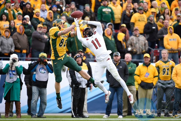 09 JAN 2016: Jaylen Hill (11) of Jacksonville State University makes an interception against North Dakota State University during the Division I FCS Football Championship held at Toyota Stadium in Frisco, TX.  NDSU defeated JSU 37-10 to win the national championship.  Jamie Schwaberow/NCAA Photos