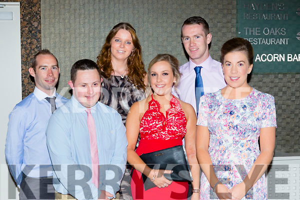 Enjoying the Mastergeeha FC soccer celebration social on Friday night l-r: Noel Moynihan, Stephen Brosnan assistant manager, Mary ellen Creedon, Ciara O'Mahony, Darragh McCarthy, Joanne Looney