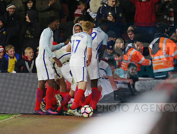 England's Jack Stephens celebrates scoring his sides third goal during the Under 21 International Friendly match at the St Mary's Stadium, Southampton. Picture date November 10th, 2016 Pic David Klein/Sportimage