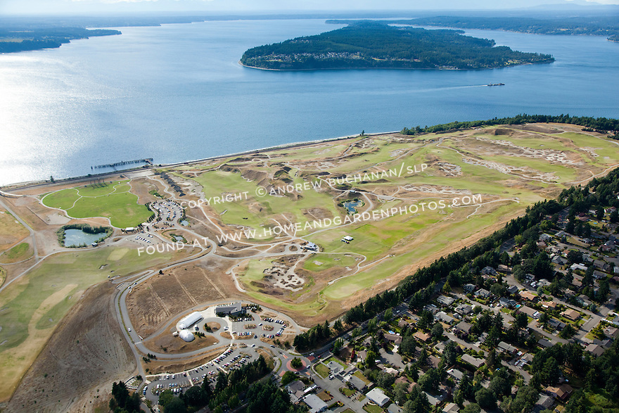 aerial view of Chambers Bay Golf Course, site of the 2015 US Open Championship; University Place, WA near Tacoma