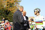 Cycling legend and Bergamo native Felice Gimondi greets World Champion Alejandro Valverde (ESP) Movistar Team before the start of the 112th edition of Il Lombardia 2018, the final monument of the season running 241km from Bergamo to Como, Lombardy, Italy. 13th October 2018.<br /> Picture: Eoin Clarke | Cyclefile<br /> <br /> <br /> All photos usage must carry mandatory copyright credit (© Cyclefile | Eoin Clarke)