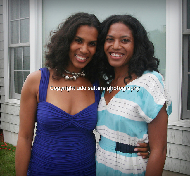 "Leslie Lewis and Christina Lewis attend ""Beach Glamour in the Hamptons, A Benefit Party for the RFL Museum"" at the Reginald F. Lewis Estate in East Hampton, New York, 6/26/10"