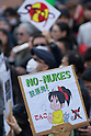 April 10, 2011 - A No-Nukes sign at an anti-nuclear protest held at Koenji Chuo park in Koenji, Tokyo, Japan..According to the organisers 15,000 attended the protest more conservative estimates put the number at 5000. (Photo by B.Meyer-Kenny/2.0 images)