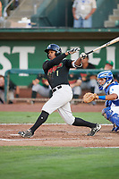 Tracy Hadley (1) of the Great Falls Voyagers bats against the Ogden Raptors at Lindquist Field on August 16, 2017 in Ogden, Utah. The Voyagers defeated the Raptors 11-6. (Stephen Smith/Four Seam Images)