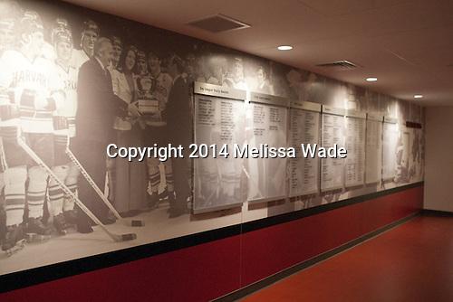 Hallway heading towards men's locker room. - Harvard University celebrated the official opening of the newly renovated Bright-Landry Hockey Center on Saturday, November 1, 2014,  in Cambridge, Massachusetts.