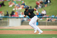 Kane County Cougars designated hitter Eudy Ramos (19) runs to second base during a game against the South Bend Cubs on July 21, 2018 at Northwestern Medicine Field in Geneva, Illinois.  South Bend defeated Kane County 4-2.  (Mike Janes/Four Seam Images)
