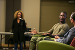 Tarell Alvin McCraney responds to Chenoa Lewis' question, Friday, April 21, 2017 in the Lincoln Park Student Center. (Photo by Diane M. Smutny)