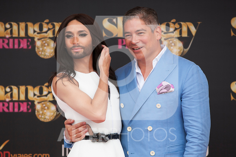 Austrian singer Conchita Wurst and presenter Boris Izaguirre (R) attend SHANGAY PRIDE and MADO Madrid Orgullo presentation and receives the Madrid Orgullo Muestra-T award in Madrid, Spain. July 03, 2013. (ALTERPHOTOS/Victor Blanco)