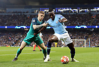 Manchester City's Benjamin Mendy holds off the challenge from Tottenham Hotspur's Kieran Trippier<br /> <br /> Photographer Rich Linley/CameraSport<br /> <br /> UEFA Champions League - Quarter-finals 2nd Leg - Manchester City v Tottenham Hotspur - Wednesday April 17th 2019 - The Etihad - Manchester<br />  <br /> World Copyright © 2018 CameraSport. All rights reserved. 43 Linden Ave. Countesthorpe. Leicester. England. LE8 5PG - Tel: +44 (0) 116 277 4147 - admin@camerasport.com - www.camerasport.com