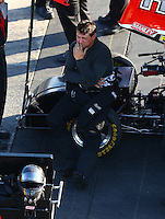 Aug 15, 2014; Brainerd, MN, USA; NHRA funny car driver Chad Head during qualifying for the Lucas Oil Nationals at Brainerd International Raceway. Mandatory Credit: Mark J. Rebilas-