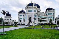 Indonesia, Sumatra. Medan. The Great Mosque (Masjid Raya) of Medan built in 1906 in Moroccan style.