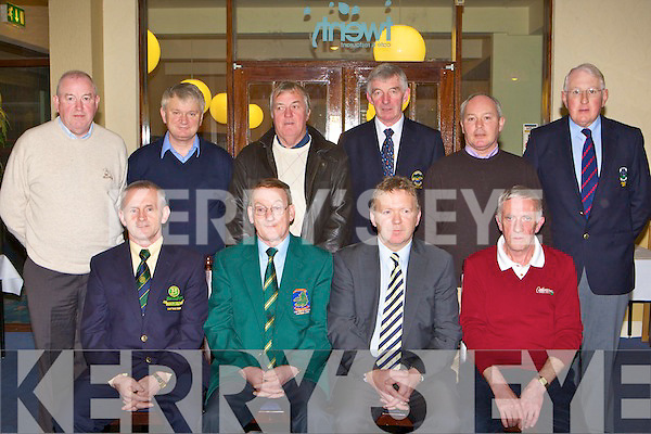 Kerry golf captains at the Kerry Captains AGM in Killarney Golf and Fishing club on Thursday night front row l-r: Brian O'Connor Beaufort, Tom Foley outgoing Captain, Michael Dowling Incoming Captain, Mick Clifford Castlerosse. Back row: Michael O'Brien Ring of Kerry, Peter Curtin Ceann Sibeal, Mike Nagle Ballybunion, Cody Keating Kenmare, Mike Casey Ross and Andrew Power