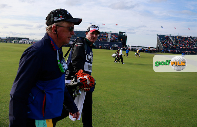 \Bernie Maguire talks to Joe Lacava on the 18th\ during the finish of the second round on Saturday evening of the 144th Open Championship, St Andrews Old Course, St Andrews, Fife, Scotland. 18/07/2015.<br /> Picture: Golffile | Fran Caffrey<br /> <br /> <br /> All photo usage must carry mandatory copyright credit (&copy; Golffile | Fran Caffrey)