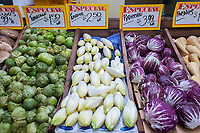 An assortment of produce at the newly reopened Stile's Farmers Market in the Hell's Kitchen neighborhood of New York on Sunday, May 7, 2017. After being forced out from their original location, where it had been tor over 20 years, almost three years ago because the building was sold and developed the popular market, known for its affordability and quality produce, has reopened a few blocks down from its original location on Ninth Avenue. (© Richard B. Levine)