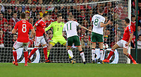 James McClean of Ireland (C) scores the opening goal during the FIFA World Cup Qualifier Group D match between Wales and Republic of Ireland at The Cardiff City Stadium, Wales, UK. Monday 09 October 2017