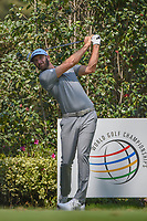 Dustin Johnson (USA) watches his tee shot on 17 during the preview of the World Golf Championships, Mexico, Club De Golf Chapultepec, Mexico City, Mexico. 2/28/2018.<br /> Picture: Golffile | Ken Murray<br /> <br /> <br /> All photo usage must carry mandatory copyright credit (&copy; Golffile | Ken Murray)