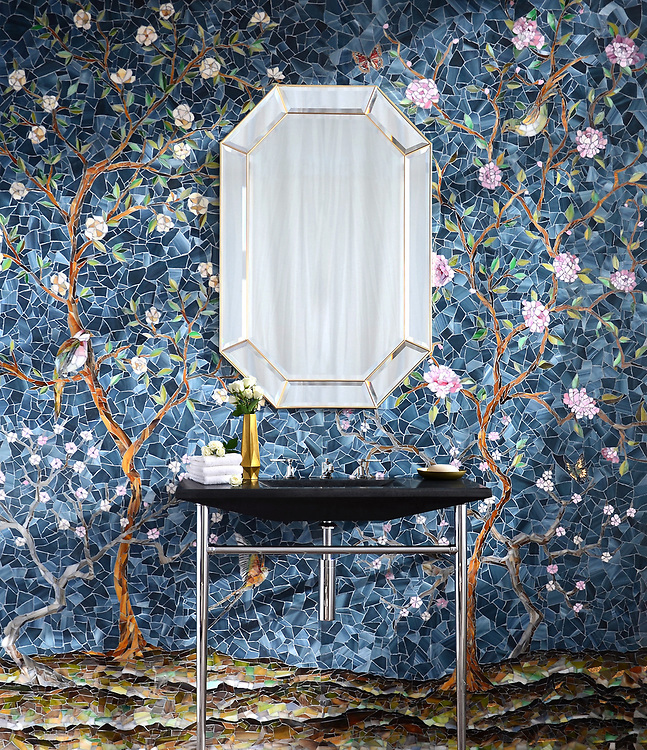 Chinoiserie, a handmade mosaic shown in Emerald, Tourmaline, Labradorite, Opal, Tiger's Eye, Amber, Peridot, Champagne, Rose Quartz, and Pearl jewel glass with Marcasite Sea Glass™ is part of the Sea Glass™ collection by New Ravenna. <br />