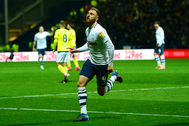 Preston North End's Louis Moult celebrates scoring his side's third goal <br /> <br /> Photographer Richard Martin-Roberts/CameraSport<br /> <br /> The EFL Sky Bet Championship - Preston North End v Blackburn Rovers - Saturday 24th November 2018 - Deepdale Stadium - Preston<br /> <br /> World Copyright © 2018 CameraSport. All rights reserved. 43 Linden Ave. Countesthorpe. Leicester. England. LE8 5PG - Tel: +44 (0) 116 277 4147 - admin@camerasport.com - www.camerasport.com