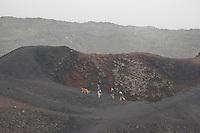 Ätna, Etna, Kind, Kinder, Familie wandert durch die karge Vulkanlandschaft, stehen am Rand eines Vulkankrater, Krater, Wandern, Lavagestein, Lava, Vulkan, Italien, Sizilien, Mount Etna, birch, white birch, volcano
