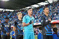 San Jose, CA - Saturday May 06, 2017: Florian Jungwirth, David Bingham, David Bingham prior to a Major League Soccer (MLS) match between the San Jose Earthquakes and the Portland Timbers at Avaya Stadium.