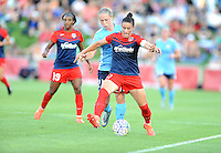 Boyds, MD - Saturday June 25, 2016: Crystal Dunn, Leah Galton, Ali Krieger during a United States National Women's Soccer League (NWSL) match between the Washington Spirit and Sky Blue FC at Maureen Hendricks Field, Maryland SoccerPlex.