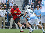 Baltimore, MD - April 28, 2018: Maryland Terrapins Tim Rotanz (7) runs towards the goal during game between John Hopkins and Maryland at  Homewood Field in Baltimore, MD.  (Photo by Elliott Brown/Media Images International)