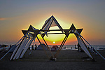 "Sunset over the Temple at ""Mid Burn"", the Israeli ""Burning Man Festival"" held at ""Habonim"" beach north of Israel October 4-6, 2012."