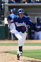 Austin Gallagher #45 of the Rancho Cucamonga Quakes runs to first base against the Inland Empire 66'ers at The Epicenter on April 8, 2012 in Rancho Cucamonga,California. Inland Empire defeated Rancho Cucamonga 7-1.(Larry Goren/Four Seam Images)