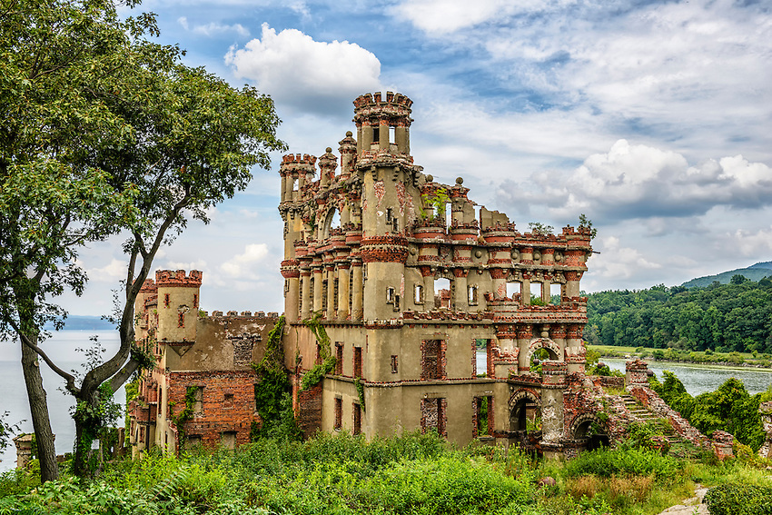View of the south side of Bannerman's Castle, built by Francis Bannerman beginning in 1901, but heavily damaged by various explosions and fires occurring from time to time after Bannerman's death in 1918. The Castle is located on Pollepel Island in the Hudson River near Beacon, New York.