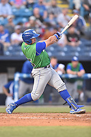 Lexington Legends catcher Chase Vallot (25) swings at a pitch during a game against the Asheville Tourists at McCormick Field on April 18, 2016 in Asheville, North Carolina. The Legends defeated the Tourists 7-5. (Tony Farlow/Four Seam Images)