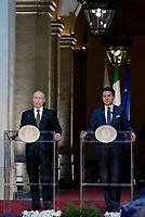 Roma, 4 Luglio 2019<br /> Palazzo Chigi.<br /> Incontro tra il Presidente della Federazione Russa Vladimir Putin e Il Presidente del Consiglio Giuseppe Conte.