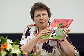 Dr. Judy Hemingway showing children's books dealing with same sex relationships, at the Sex & Relationships Education Conference at the Institute of Education, London.