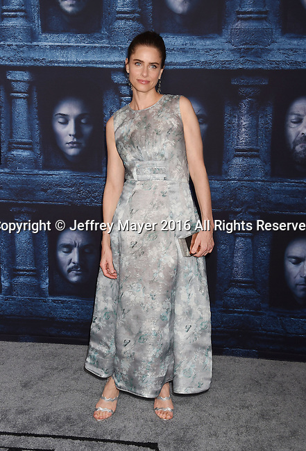 HOLLYWOOD, CA - APRIL 10: Actress Amanda Peet arrives at the premiere of HBO's 'Game of Thrones' Season 6 at the TCL Chinese Theatre on April 10, 2016 in Hollywood, California.