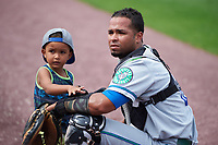 Hartford Yard Goats catcher Jan Vazquez (6) with his son after a game against the Binghamton Rumble Ponies on July 9, 2017 at NYSEG Stadium in Binghamton, New York.  Hartford defeated Binghamton 7-3.  (Mike Janes/Four Seam Images)