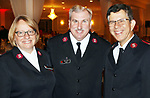 WATERBURY CT. 09 November 2017-110917SV11-From left, Major Kathryn Purvis of Waterbury, Major James Purvis of Waterbury, and Major Jorge Marzan of Harwinton attend The Salvation Army 9th Annual Keep the Bells Ringing Kettle Kick-Off Event at La Bella Vista in Waterbury Thursday.<br /> Steven Valenti Republican-American