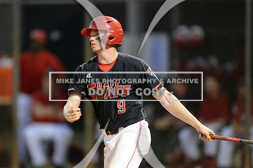 Ball State Cardinals outfielder Sean Godfrey (9) during a game against the Mississippi Valley State Delta Devils on February 21, 2014 at North Charlotte Regional Park in Port Charlotte, Florida.  Ball State defeated Mississippi Valley 12-1.  (Copyright Mike Janes Photography)