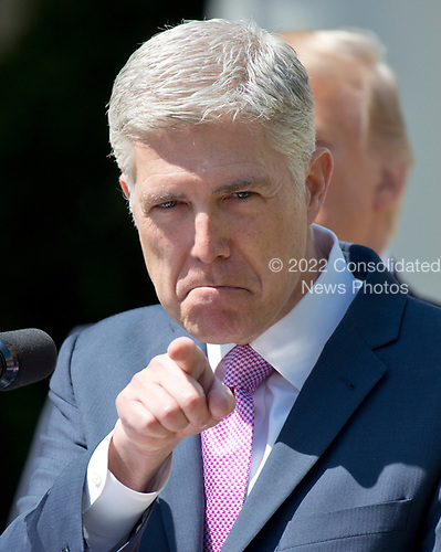 Associate Justice of the United States Supreme Court Neil Gorsuch makes remarks after taking the Oath of Office from Associate Justice Anthony Kennedy in theRose Garden of the White House in Washington, DC on Monday, April 10, 2017.<br /> Credit: Ron Sachs / CNP<br /> (RESTRICTION: NO New York or New Jersey Newspapers or newspapers within a 75 mile radius of New York City)