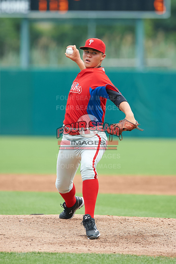Karl Blum #24 of Toms River High School North in Toms River, New Jersey playing for the Philadelphia Phillies scout team during the East Coast Pro Showcase at Alliance Bank Stadium on August 1, 2012 in Syracuse, New York.  (Mike Janes/Four Seam Images)