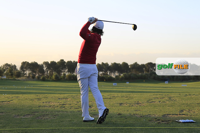 Kristoffer Broberg (SWE) on the driving range during Round 2 of the Open de Espana  in Club de Golf el Prat, Barcelona on Friday 15th May 2015.<br /> Picture:  Thos Caffrey / www.golffile.ie