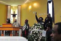 Friends and family pay their respects at the funeral of housing activist Beauty Turner, 51, a one-time resident of the Robert Taylor Homes who led the Beauty Turner Ghetto Bus Tour and received national recognition in publications such as The Wall Street Journal, at the Greater Harvest Missionary Baptist Church on South State Street in Chicago, Illinois on December 26, 2008.  Turner died of an aneurysm on December 18.